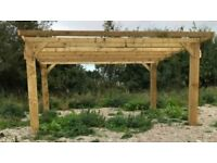 new 3.6m pent wooden car port hot tub bbq shelter