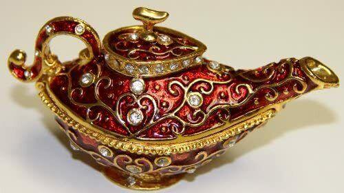 Red Genie Aladdin Lamp Decorative Collectible Trinket Jewelry Box