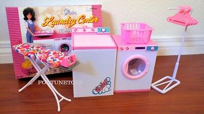 GLORIA DOLLHOUSE FURNITURE LAUNDRY CENTER W/ WASHER & DRYER Play set FOR Dolls