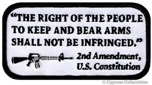 2nd-AMENDMENT-PATCH-iron-on-RIGHT-TO-BEAR-ARMS-embroidered-GUN-RIFLE-AR15-WHITE