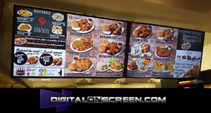 Digital signage monitor tv menu displays