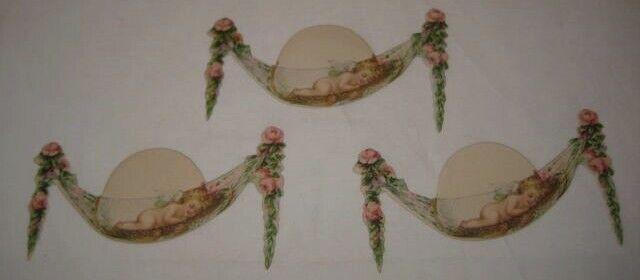 3 Old 1920s Cdbd Placecards - Cupid Angel Sleeping in Rose Flower Hammock