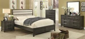 QUEEN BEDROOM SET ON GREY FINISH WITH AN FABRIC HEADBOARD