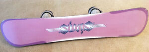 CHEAP !! LADIES 8 - 9 SIMS BURTON SNOWBOARD SETUP SEE VIDEO