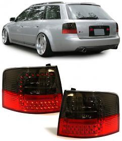 SMOKED LED REAR TAIL LIGHTS LAMPS FOR AUDI A6 C5 ESTATE TOURING AVANT 97-04