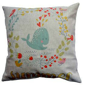 R. Lang Designer 18 x 18 inch Whale Cotton/Linen Pillow Cover
