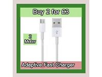 2 for £3 Micro USB Data Cable Lead 2M Fast Charger Durable For Samsung phones