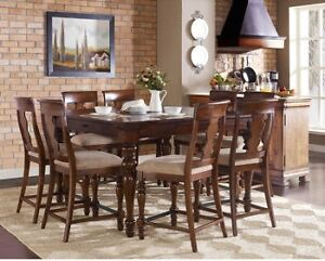 piece counter height dining set table w drawers removable leaf 6