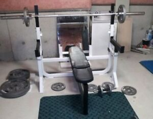 Northern Light Bench/Squat Rack, Safety Spotters, Weights, Bar