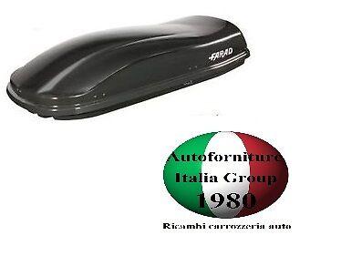 BOX BAULE PORTABAGAGLI TETTO AUTO FARAD MARLIN F3 N6 480LT NERO GOFFRATO