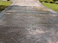 Cover up ulgy crackec driveway with a new stamped concrete finis