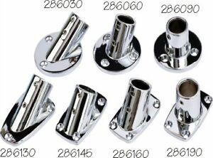 Marine-Boat-Rail-Fittings-30-Degree-Rect-Base-Chrome-Plated-7-8-Pic-286130