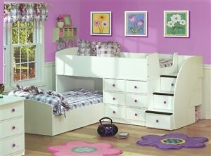 White Captain's Bed for Two with Stairs by Belair-Twin over Twin