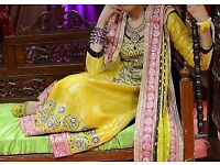 Bollywood/Indian/Pakistani Modern Mendhi outfit with handmade embroidery.