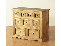 New Solid Corona Mexican Pine 9 drawer sideboard / Merchants chest Only £129