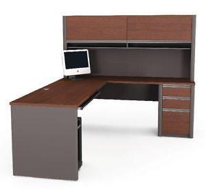 lshaped desk with hutches
