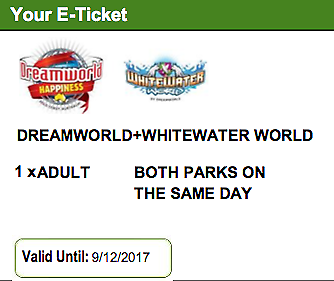 Dreamworld  and White Water World tickets (1x Adult + 1x Child)