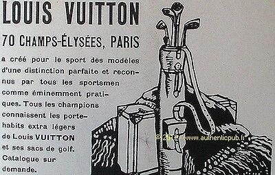PUBLICITE LOUIS VUITTON PORTE HABITS POUR LE SPORT SAC DE GOLF DE 1926 FRENCH AD
