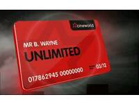 Cineworld Unlimited Card 12 months plus 1 month extra free