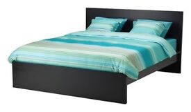 Double Ikea MALM Bed in black-brown