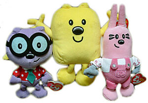 Complete set of 3 Wow Wow Wubbzy TY plush beanies: Wubbzy, Walden, Widget