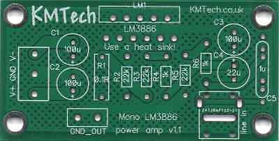 Quality LM3886 based mono amplifier Chipamp Gainclone PCB only DIY Audiophile