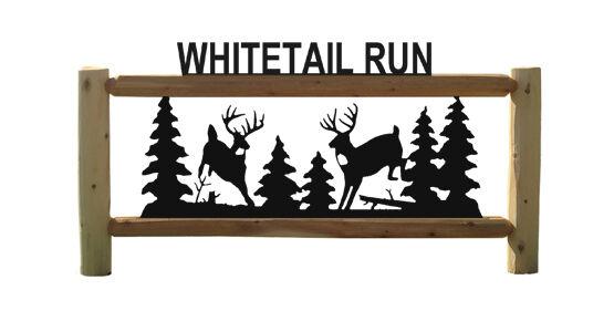 WHITETAIL DEER LOG SIGN - HUNTING - WILDLIFE ART