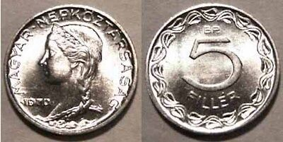 2 HUNGARY 5 Filler Coin 1970 KM549 BU Catalog Value $10 each, POSTPAID IN USA!!!