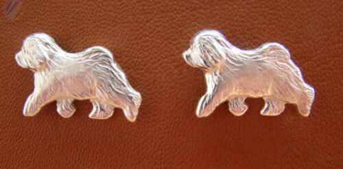 Small Sterling Silver Old English Sheepdog Moving Study Cuff Links