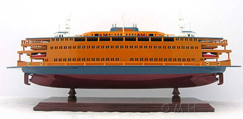 "Staten Island Ferry Boat Wooden Model 24"" Handcrafted Statue of Liberty Ship"