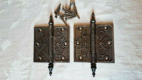 "Antique Eastlake style Steeple Hinge 4"" by 4"" with original mounting screws"