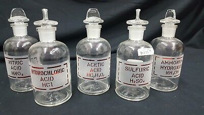 Ammonium Hydroxide Sulfuric Acetic Nitric Hydrochloric Acid Bottles Set Of 5