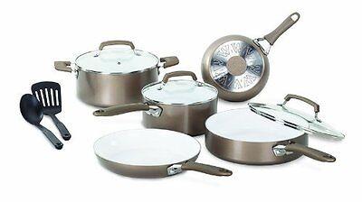 T-FAL/WEAREVER Pure Living Cookware Set, Ceramic Interior, 1