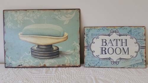 New metal shabby chic pictured plaques for