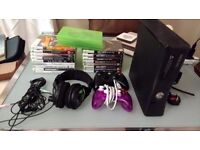 XBOX 360 S 120GB with 22 games + New Headset + 2 Controllers + Long HDMI Cable