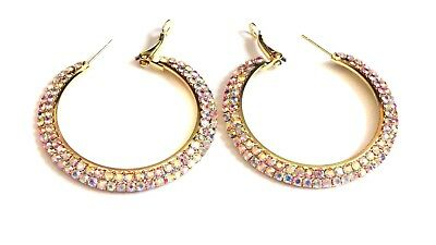 Iridescent Crystal - IRIDESCENT CRYSTAL 2.25 INCH HOOP EARRINGS GOLD TONE EARRINGS DOUBLE PAVED
