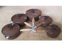 Vintage Cousances set of 5 Cast Iron brown Saucepans with teak handles