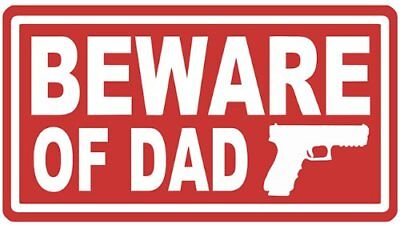 Aufkleber / Autoaufkleber Beware of Dad gun daughter protection - Laptop US5265D