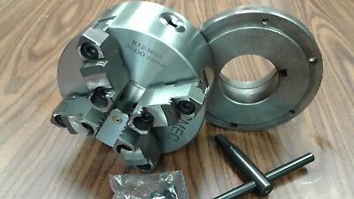6 4-jaw Self-centering Lathe Chuck W. Top Bottom Jaws W. L0 Adapter-new