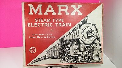 Marx Electric Steam Type Train in Box Vintage with Crane Burlington Truck Mint