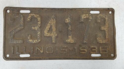 1936 ILLINOIS License Plate 234-173