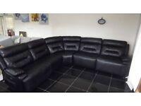 Designer black leather 5 piece corner sofa (306) £899