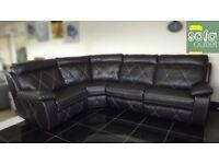 Designer Brown leather 4 piece corner sofa (265) £899