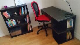 Desk & chair & bookcase