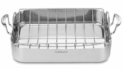 Cuisinart Multiclad Pro Cookware - Roaster Pan, Roasting Rack - Stainless Steel