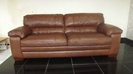 Designer Sofa Antique Brown leather 3 seater sofa + 2 chairs (119) £999