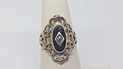 VINTAGE! Ladies 10 Karat Yellow Solid Gold Filigree Black Onyx & Diamond Ring