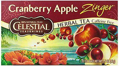 Celestial Seasonings Herb Tea Cranberry Apple Zinger 20 Count Tea Bags Pack of 6
