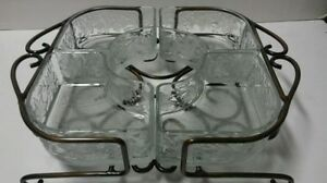 Princess House 2 Pc Metal Caddy with 4 Crystal Refreshment Bins