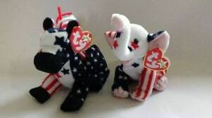 Lefty 2000 & Righty 2000 Ty Beanie Baby stuffed animals USA excl